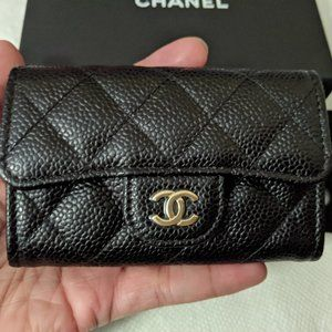 🖤Chanel Caviar Quilted Flap Card Holder Black